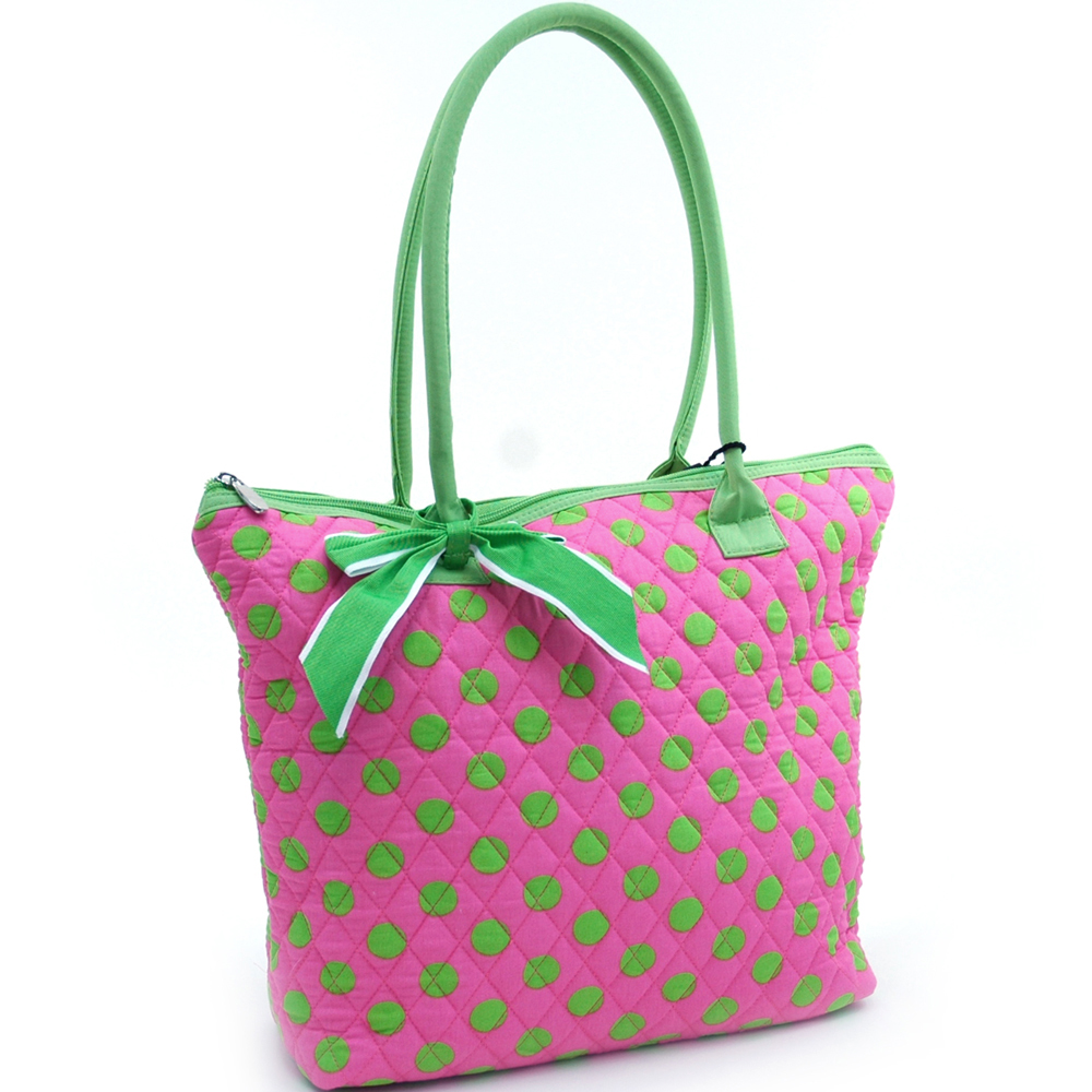 Quilted Polka Dot Tote w/ Ribbon Accents