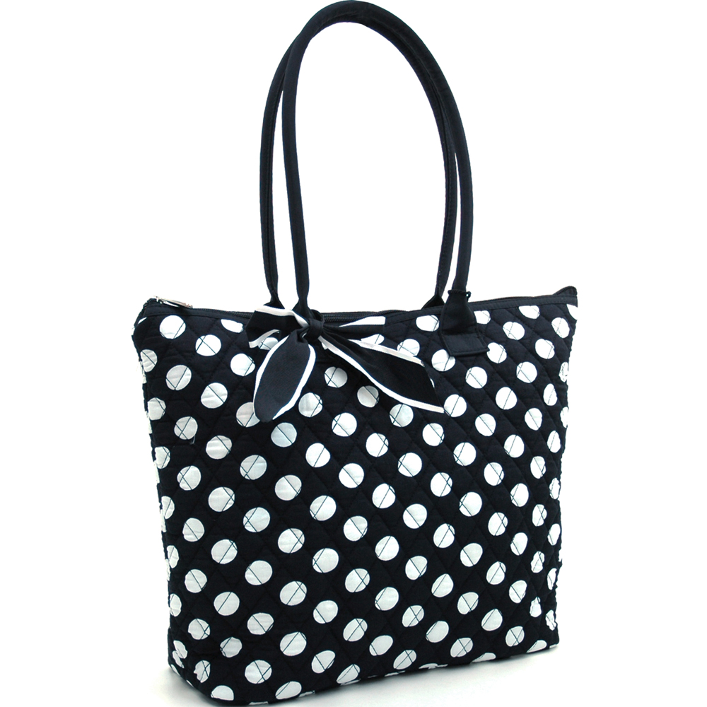 Fashlets Generic Quilted White Polka Dot Tote