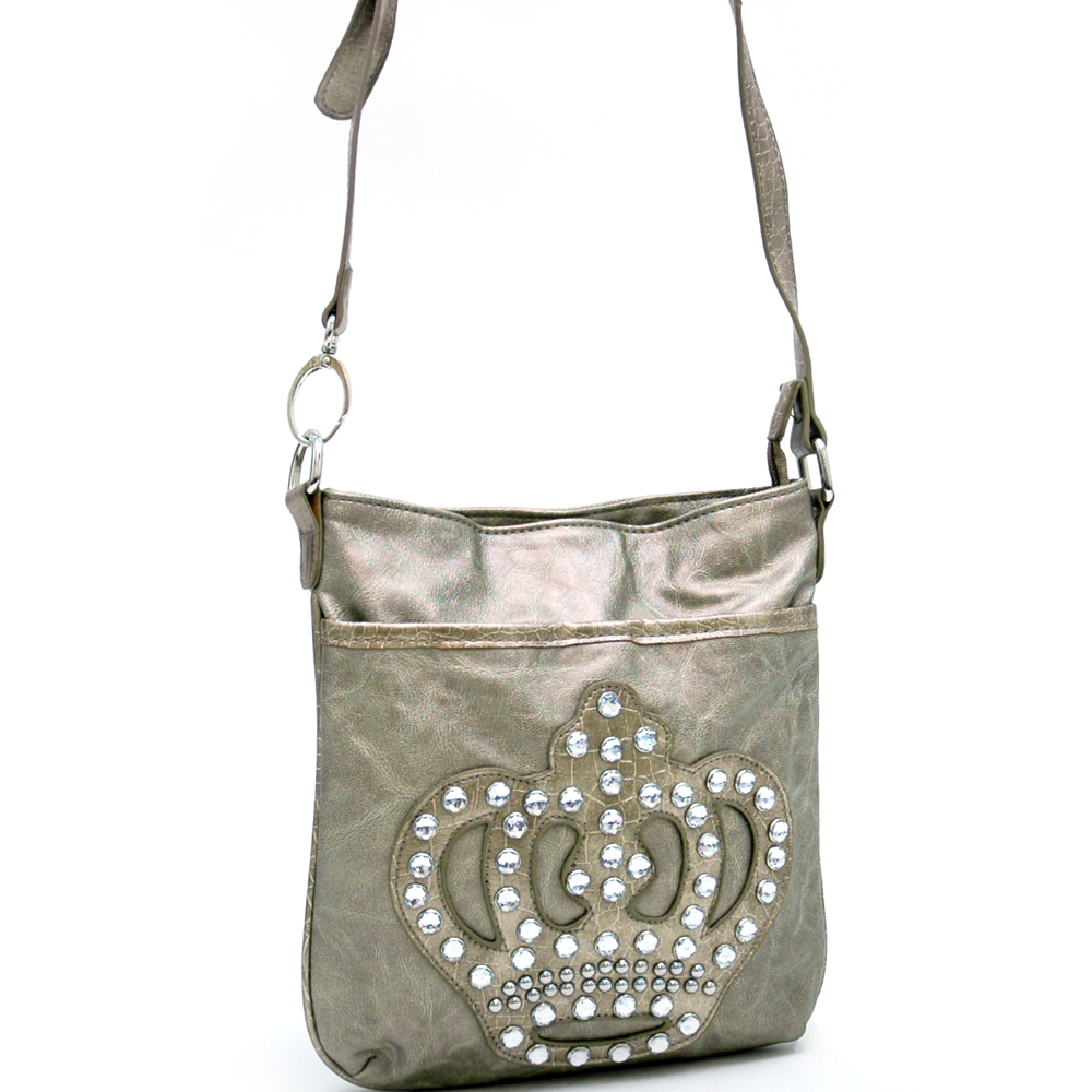 Rhinestone Messenger Bag with crown accent Bronze