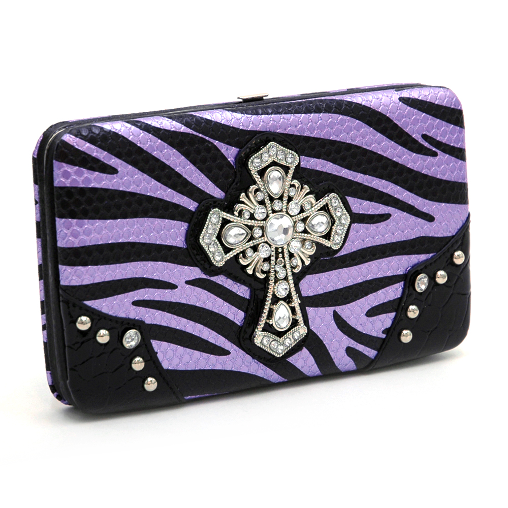 Zebra print and croco trim frame wallet w/ rhinestone cross