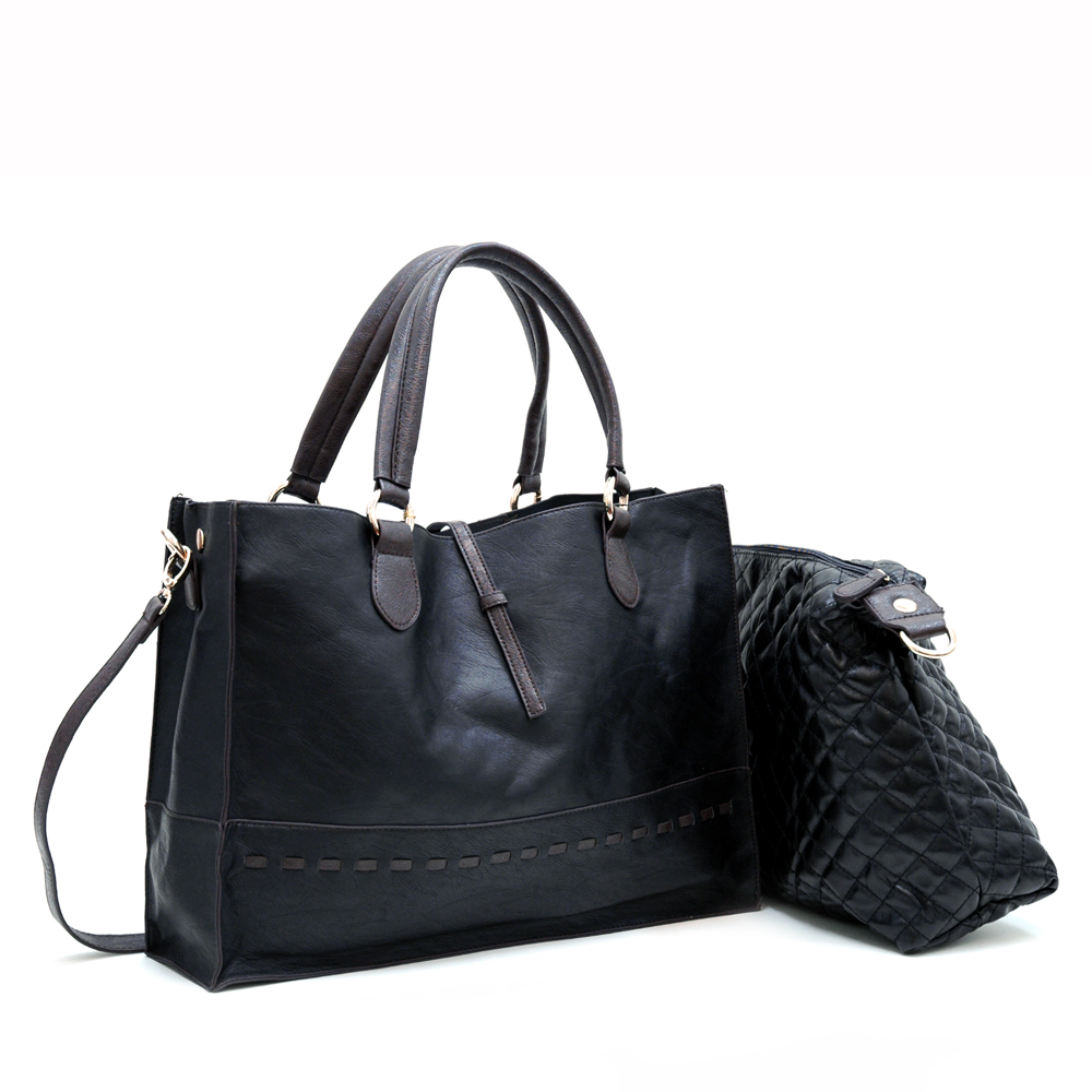 On-the-go tote w/ inside attached quilted bag - Black/Coffee Trim