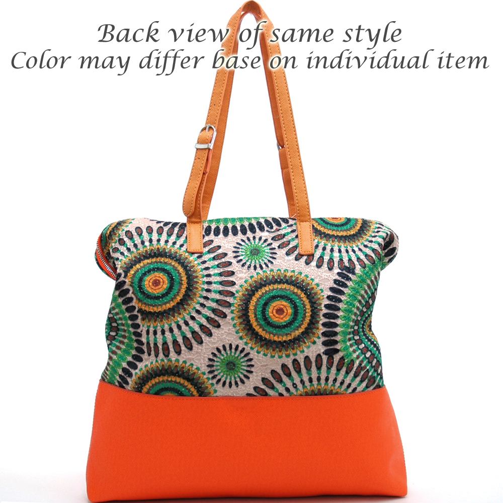 Retro Tote Bag with Psychadelic Design - Orange/Black