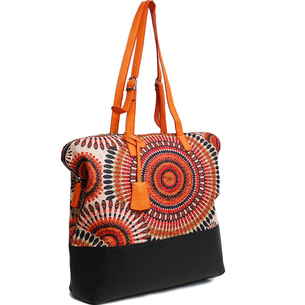 Retro Tote Bag with Psychadelic Design - Black/Orange