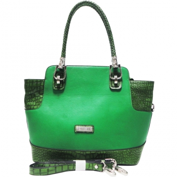 Dasein Croco Trim Medium Satchel with Braided Shoulder Straps