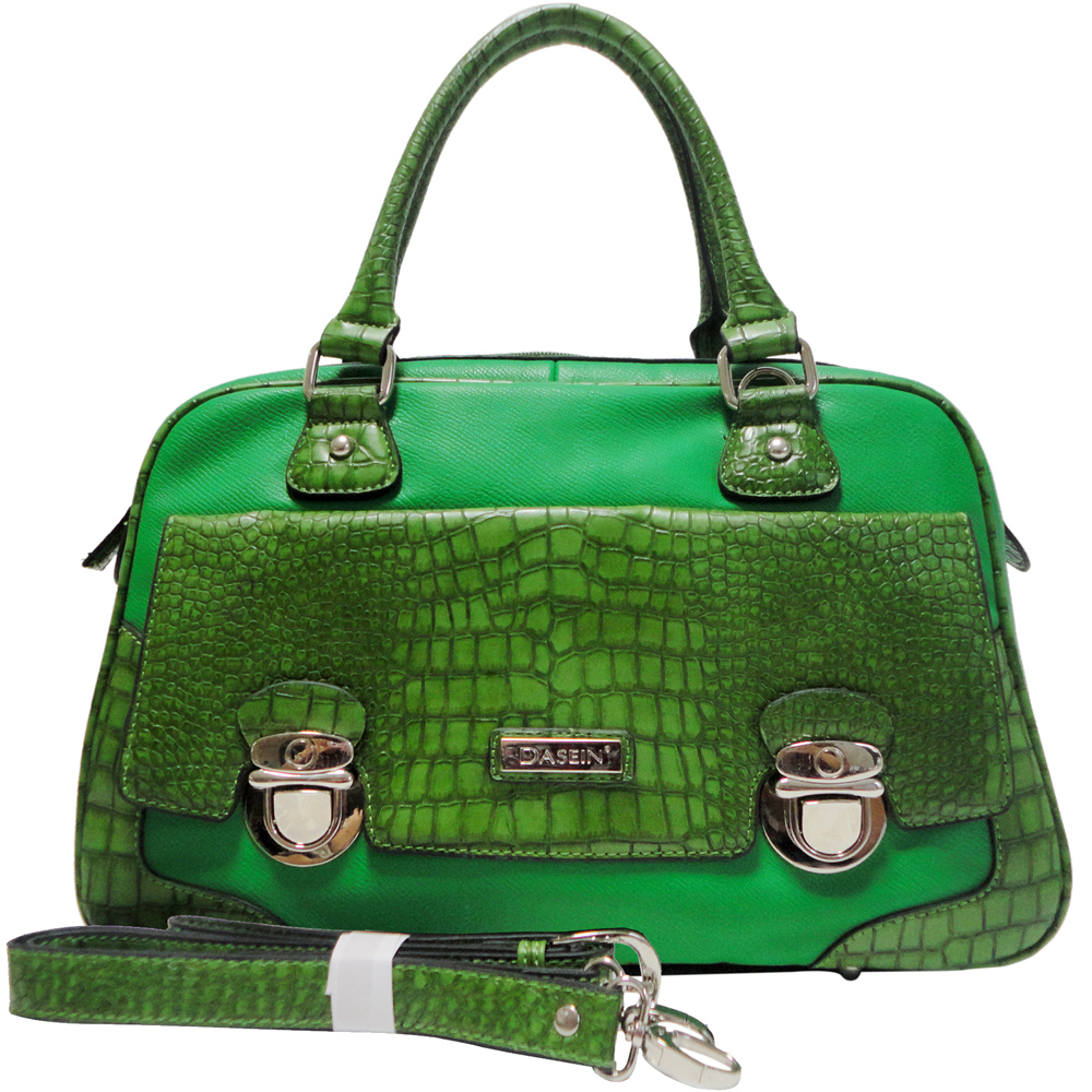 Dasein Croco Texture Satchel Bag w/ Front Buckled Pocket