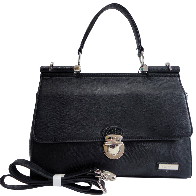 Dasein Croco Texture Briefcase Style Satchel Bag with Front Buckle Accent-Black
