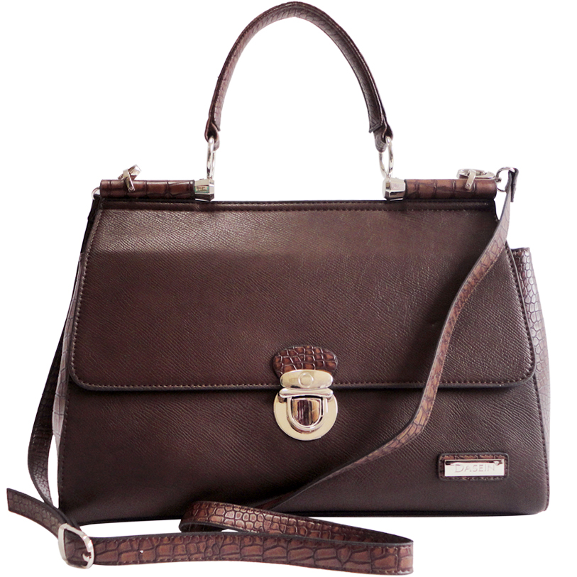 Dasein Croco Texture Briefcase Style Satchel Bag with Front Buckle Accent-Coffee