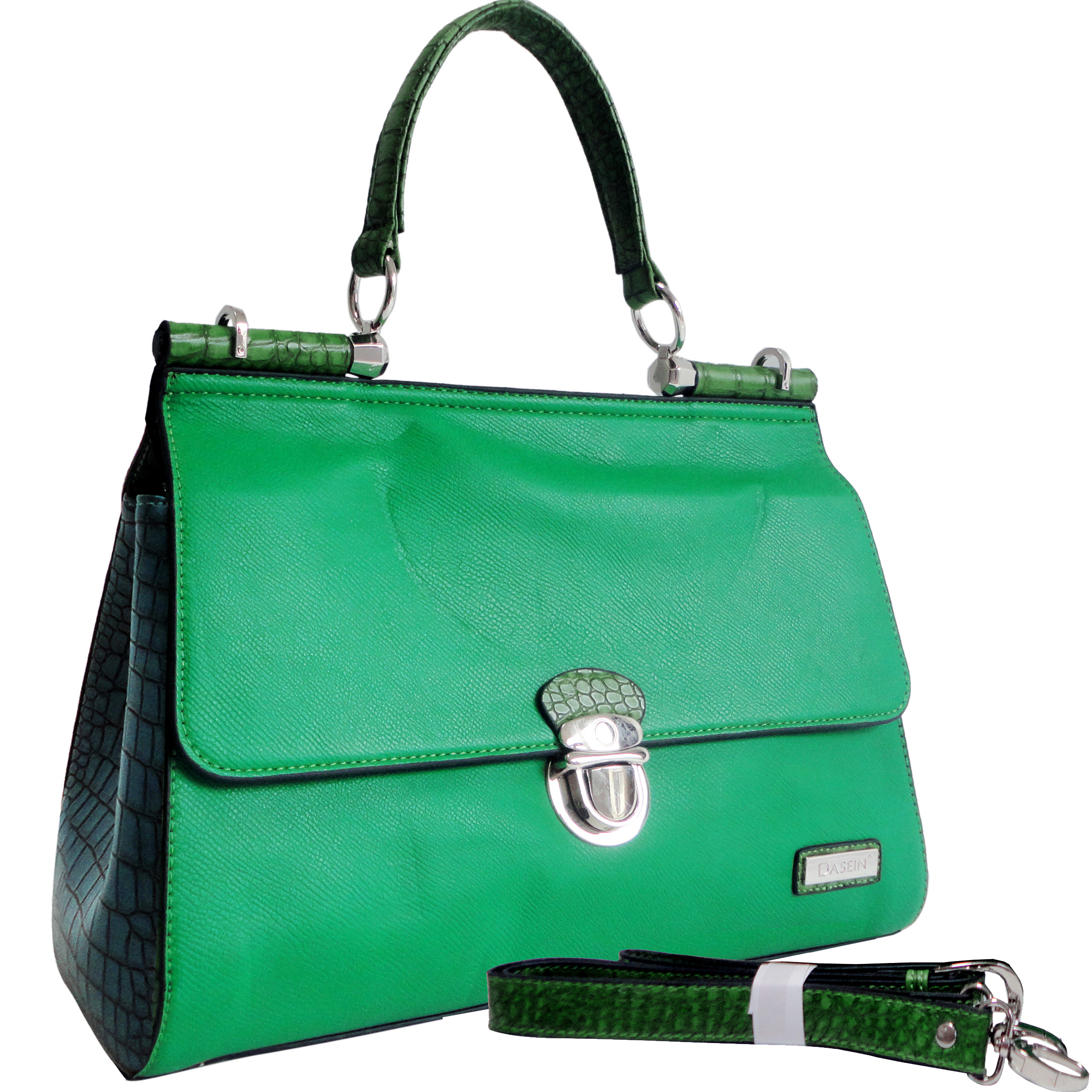 Dasein Croco Texture Briefcase Style Satchel Bag with Front Buckle Accent-Green