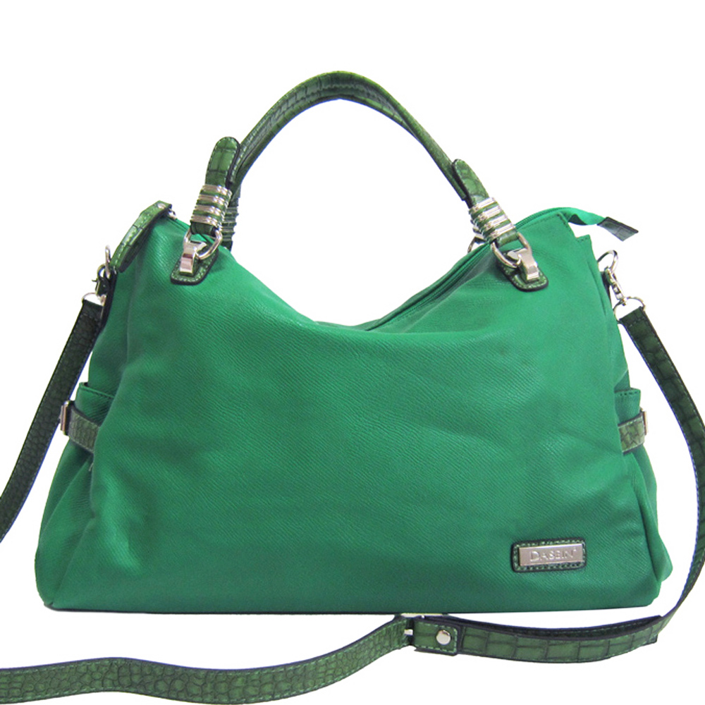 Dasein Large Croco Trim Carry Tote with Belted Accents-Green