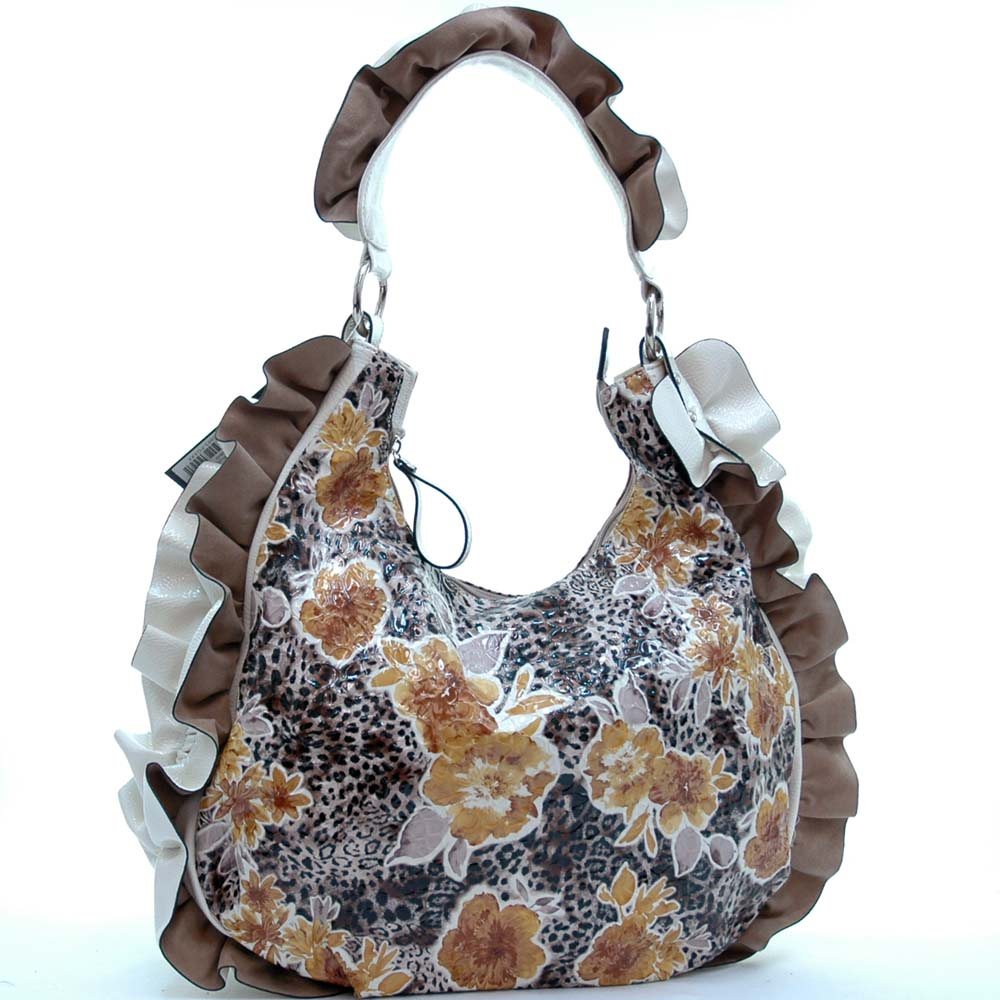 Dasein Floral Printed Hobo Bag with Ruffles and Leopard Accent-Yellow/White