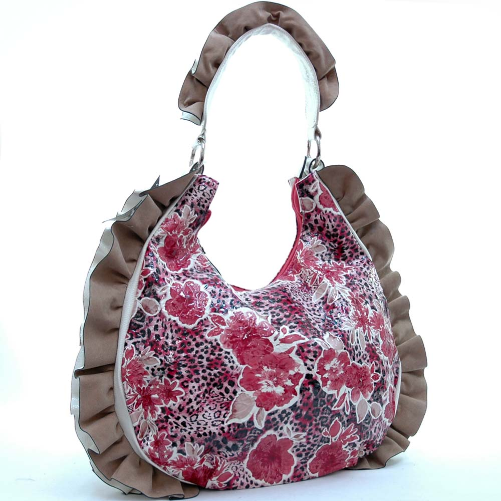Dasein Floral Printed Hobo Bag with Ruffles and Leopard Accent-Red/White