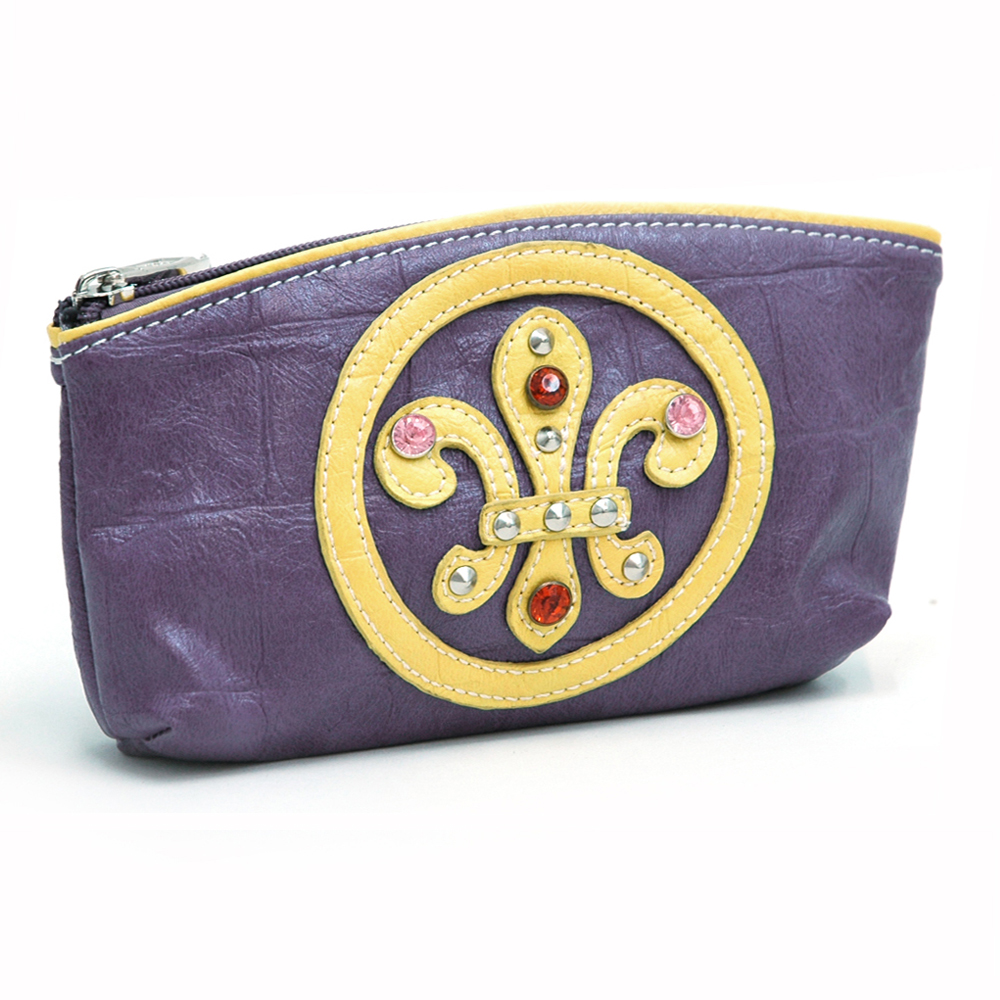 Soft Croco Cosmetic Bag  Fleur de Lis and Jeeled Accent
