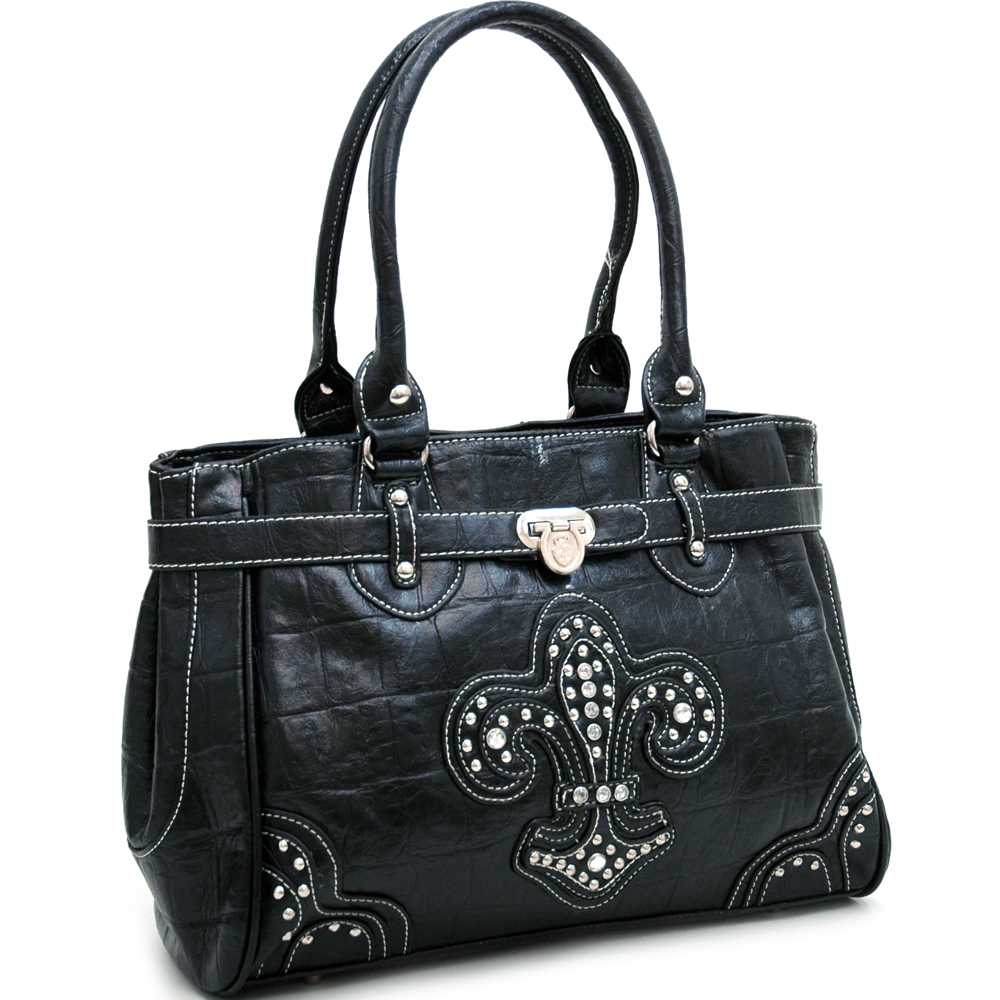 Ustyle Croco Textured Fashion Tote with Rhinestone Fleur de Lis-Black
