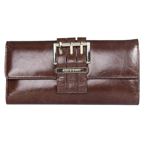 Anais Gvani® Smooth Italian Leather Checkbook Wallet with Buckle Accent