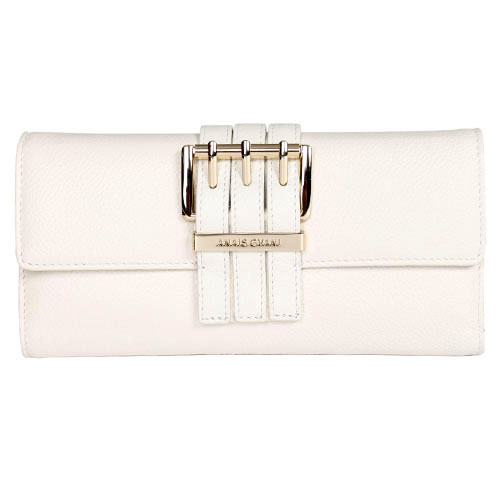 Anais Gvani® Textu Italian Leather Checkbook Wallet with Buckle Accent