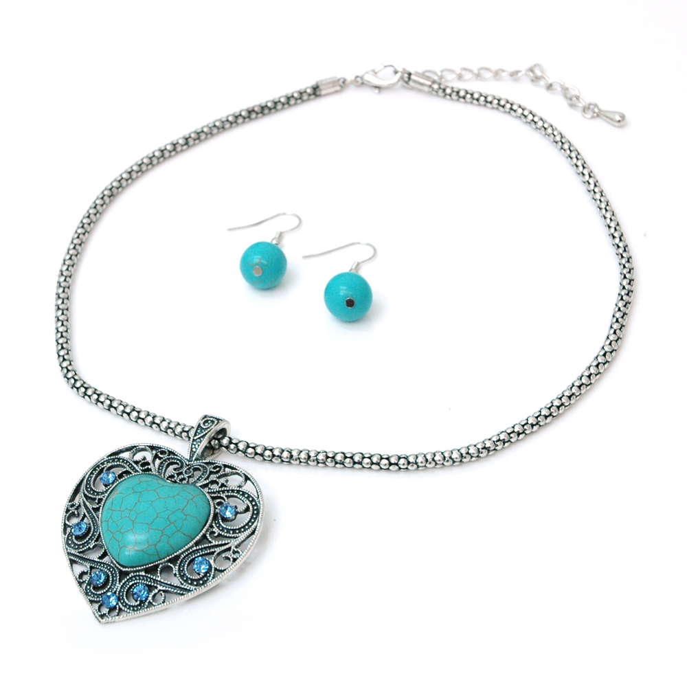 Turquoise Heart Stone Necklace and Earring Set w/ Clear Rhinestones