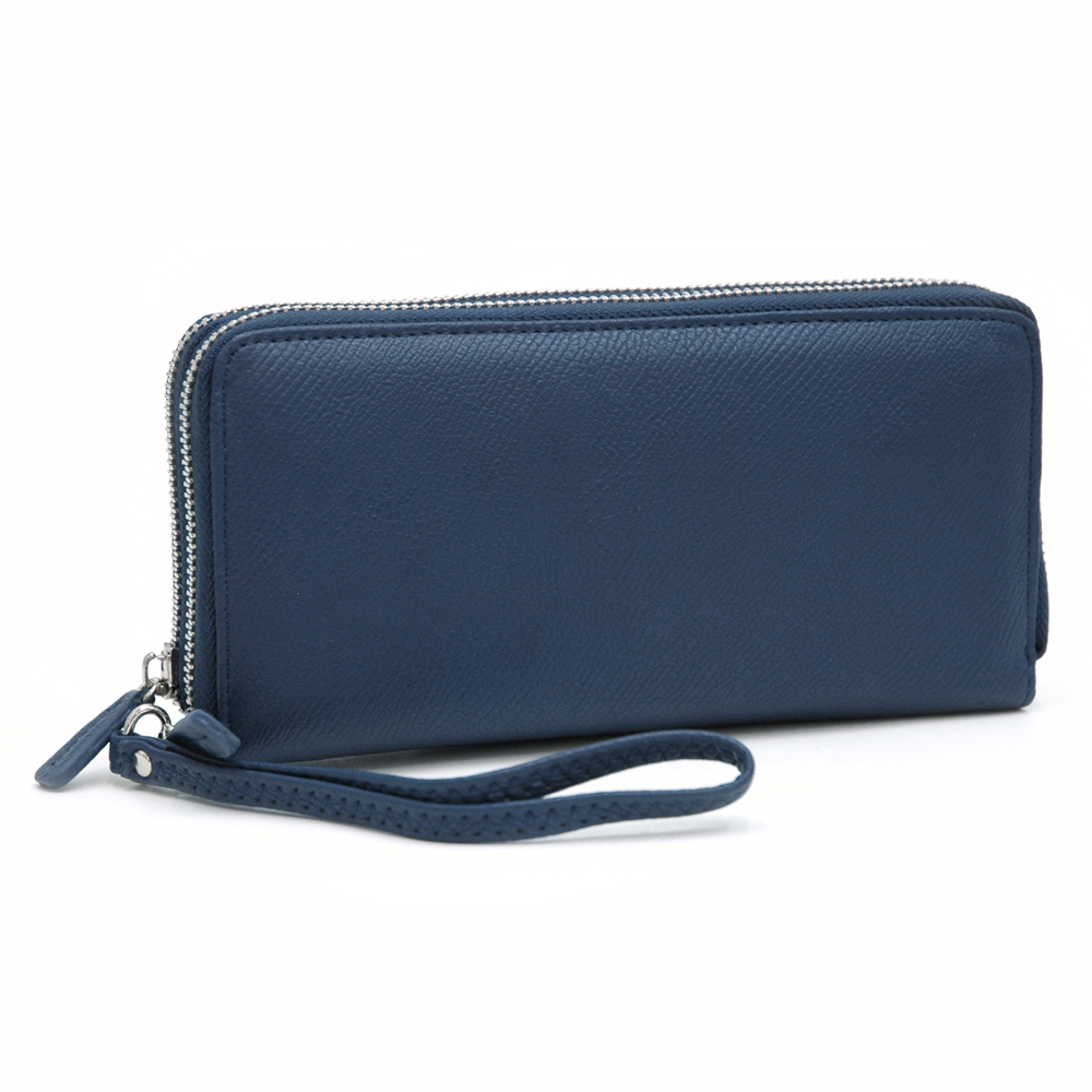Dasein Faux Leather Dual Zip Compartment Wallet with Wristlet Strap