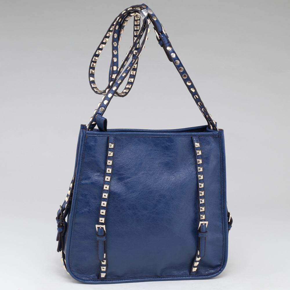 Emperia Square Fashion Shoulder Bag with Long Studded Straps