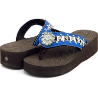 Women's Flip Flops with Croco Upper & Rhinestones