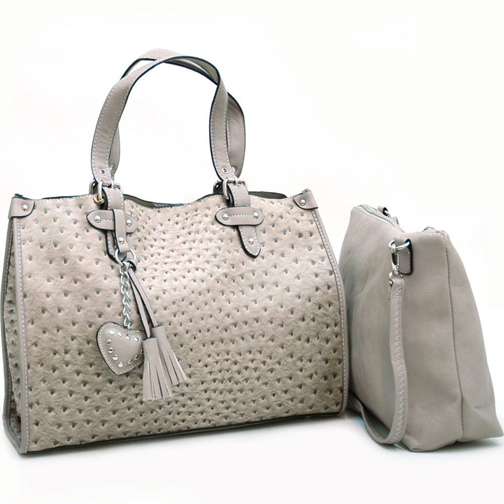 2-in-1 Ostrich Tote w/ tassel accents and bonus shoulder strap