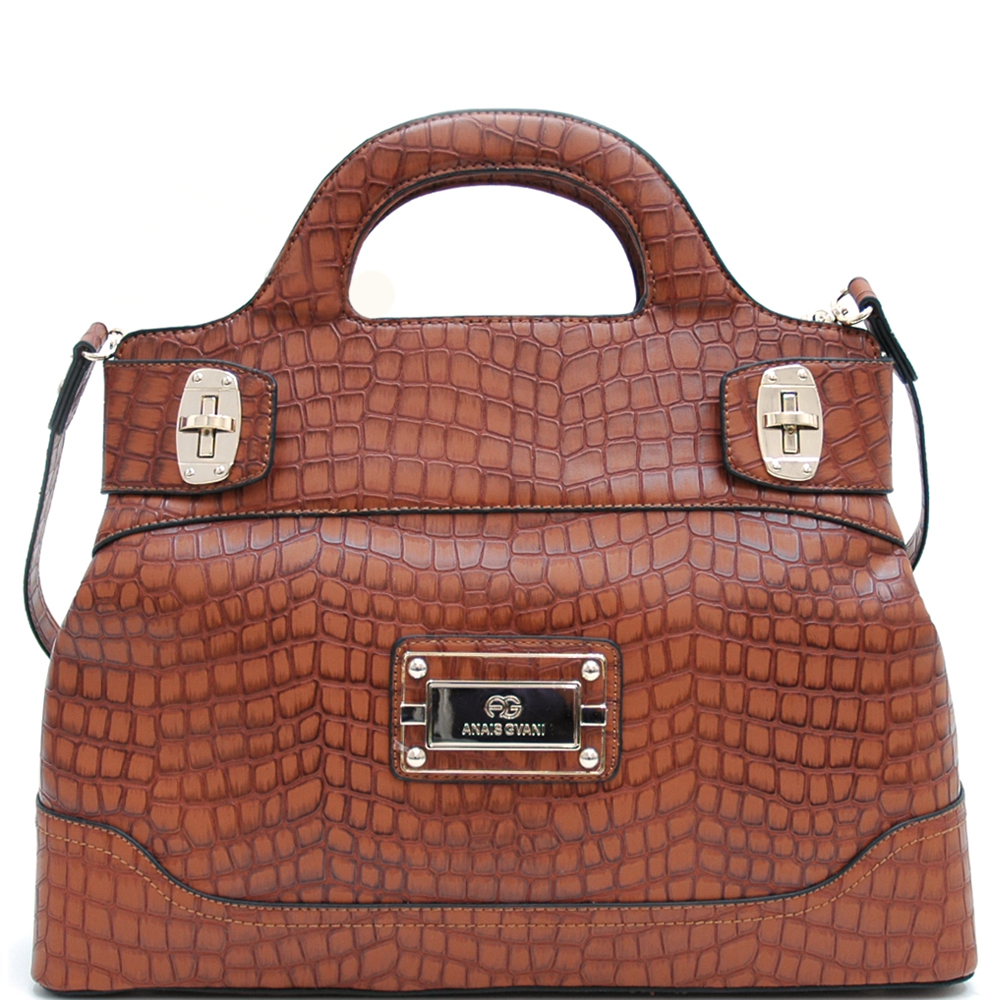 Anais Gvani® Gramercy Park Crescent Handle Croco Satchel