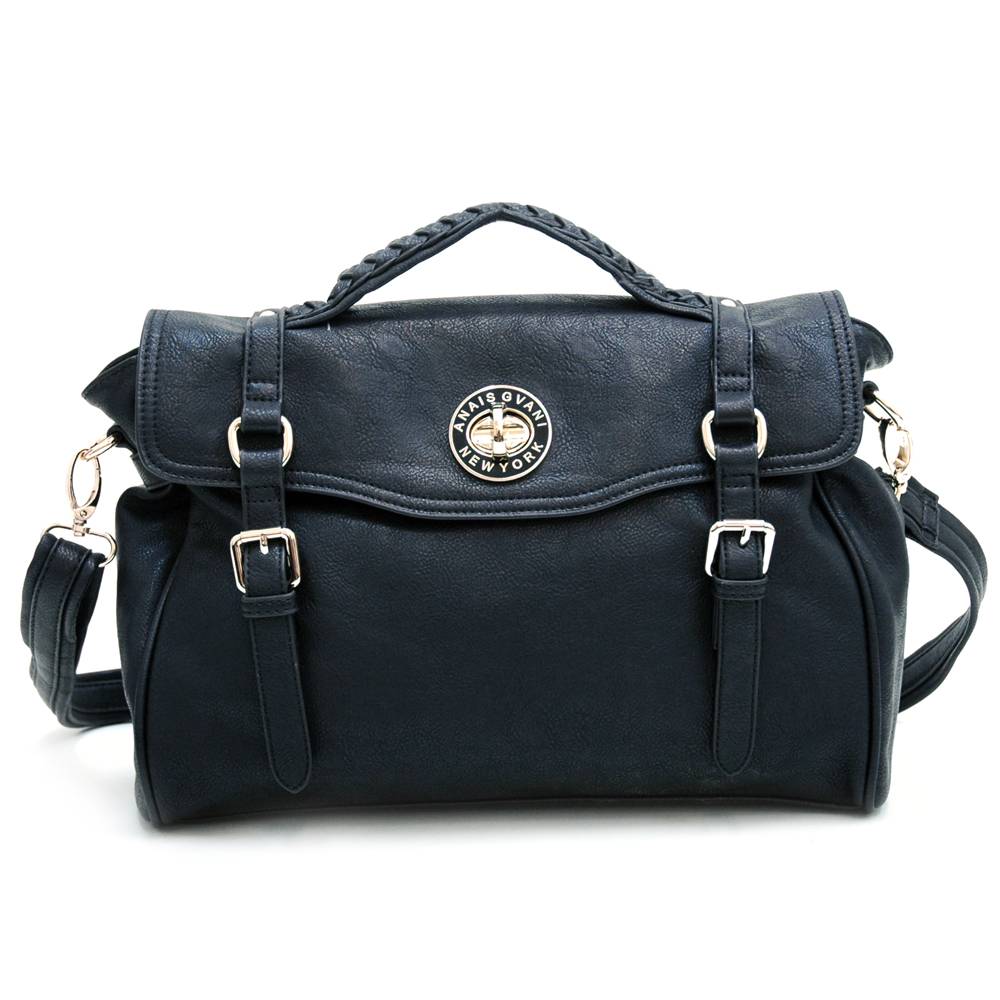 Fashion Belted Briefcase/Messenger Bag w/ Braided Accents Black