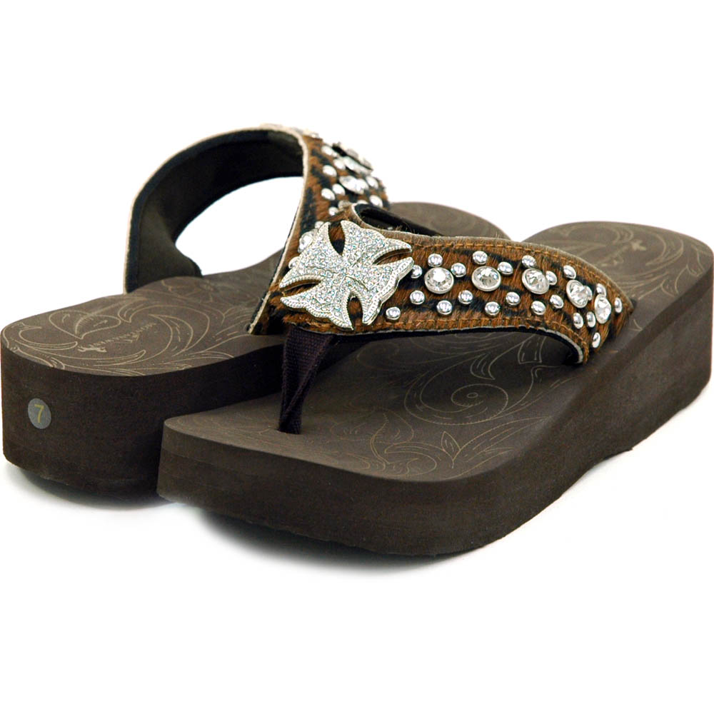 Women's Flip Flops with Faux Fur Rhinestoned Cross Motif and Studs
