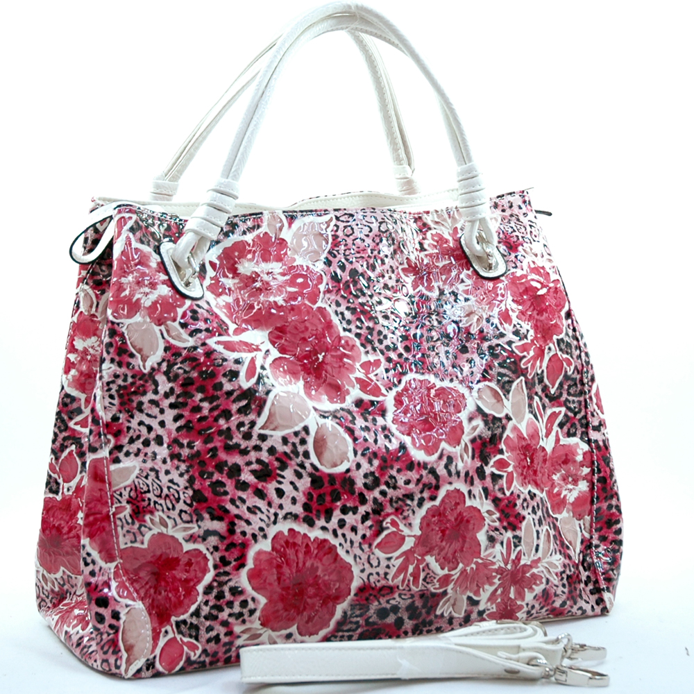 Dasein Fashion leopard floral printed satchel