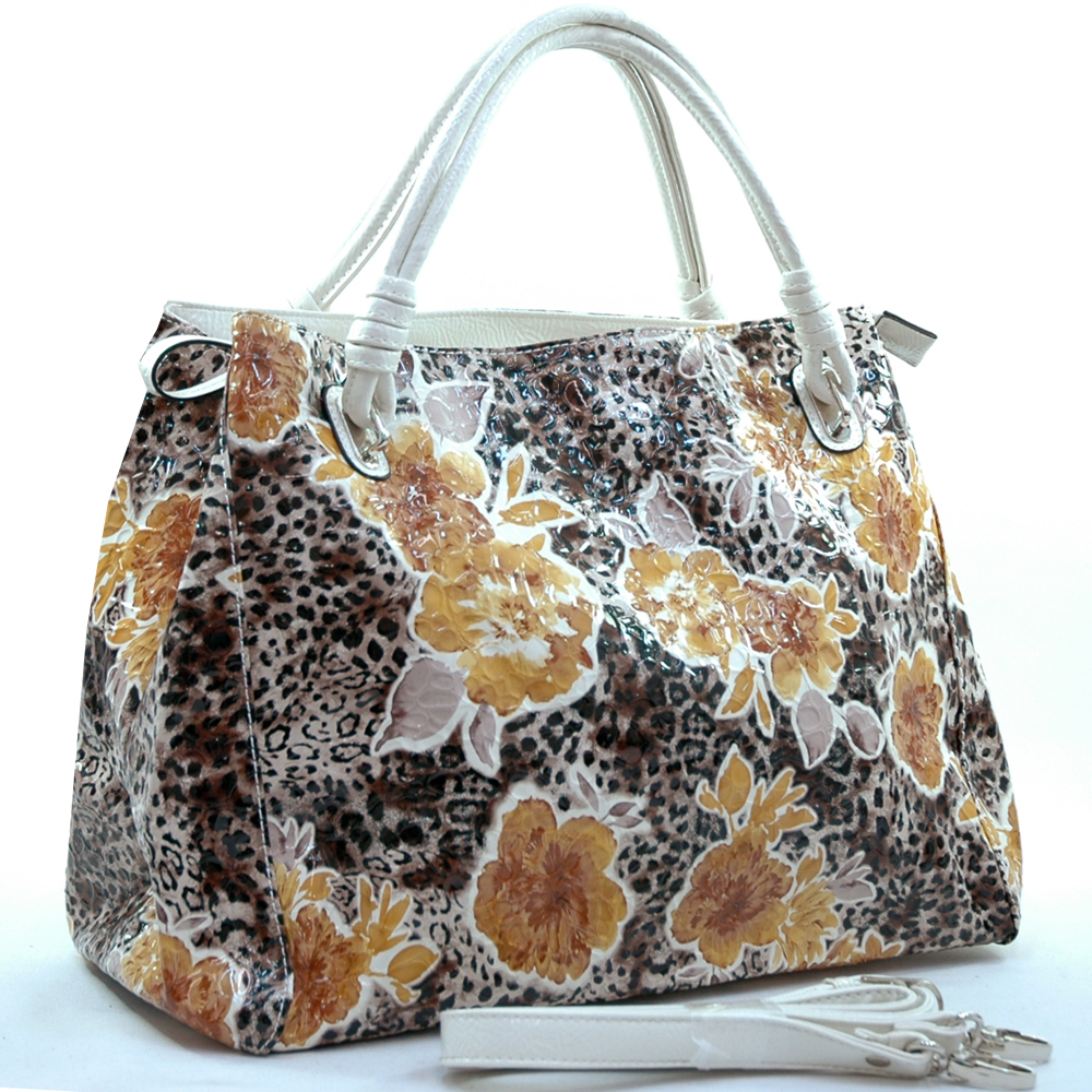 Dasein leopard floral printed satchel - White / Black Yellow Prints