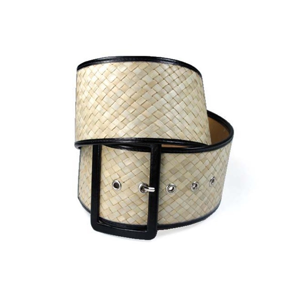 Braided Woven Belt with Retangular Buckle