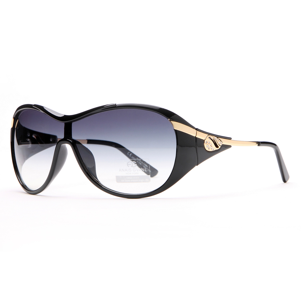 AG Glam Shield Fashion Sunglasses with Gold Temple Accent