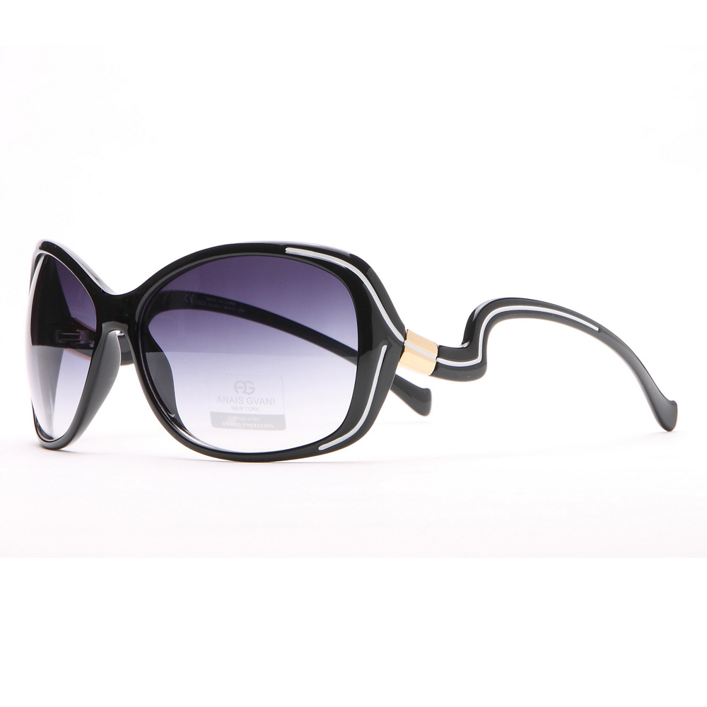 Outlined Fashion Sunglasses w/ Curvy Details