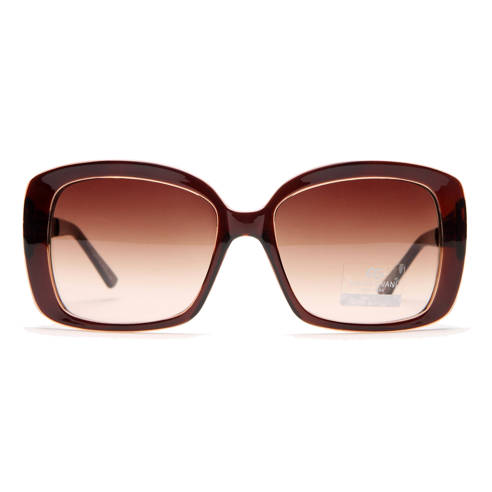 Square Frame Sunglasses w/ Quilt-like Texture Design on Side