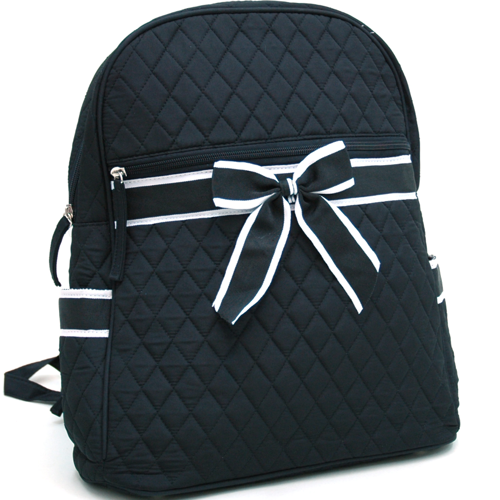 Quilted Ribbon Accent Convertible Backpack