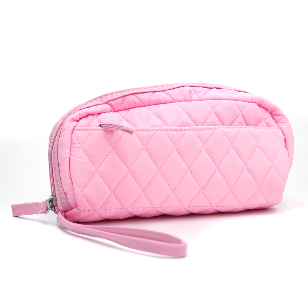 Quilted Makeup Bag With Wristlet Strap