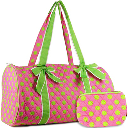 Quilted Polka Dot Duffel Bag With Bonus Makeup Bag