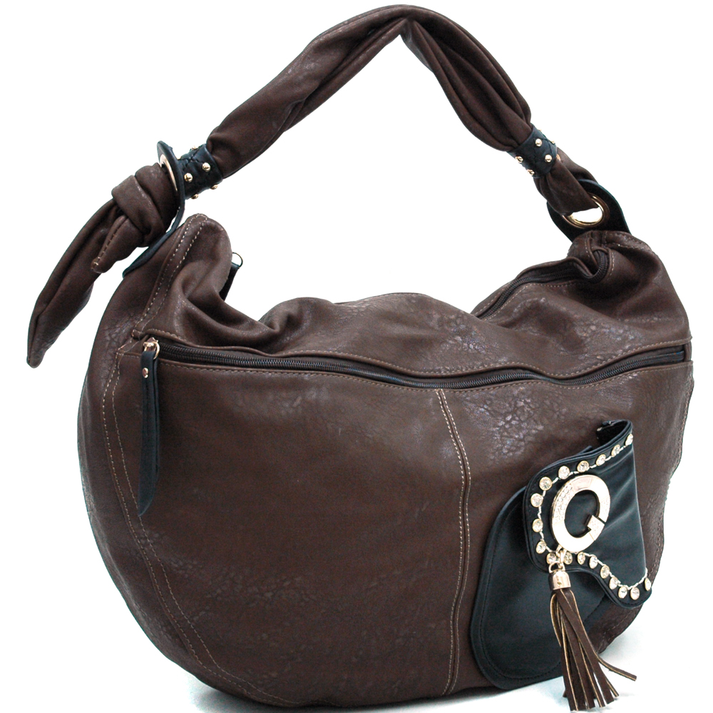 Fashionably Oversized Hobo with Knotted Strap & Rhinestone Studded Accents