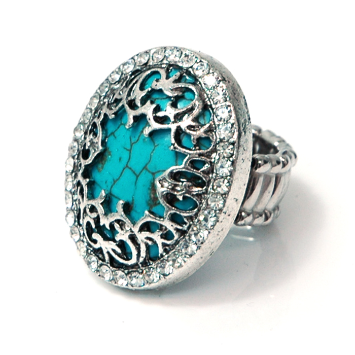 Vintage Turquoise Ring with Rhinestone Accents