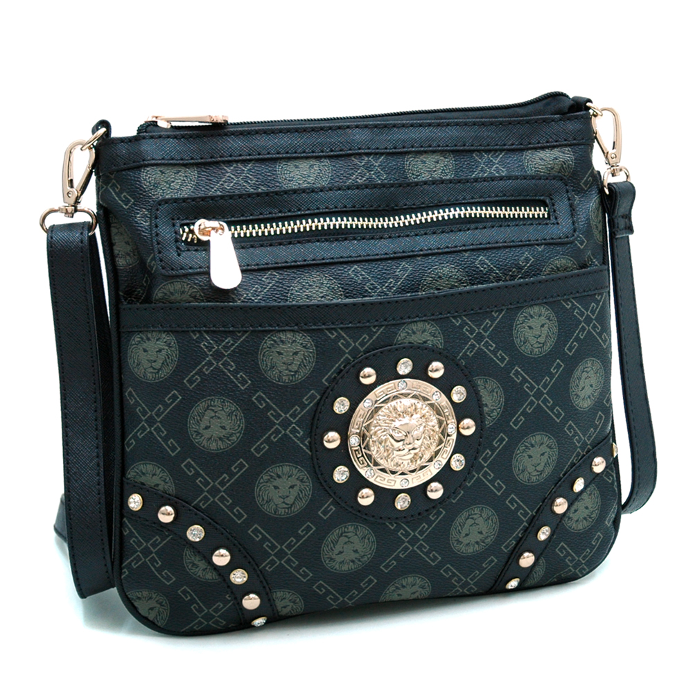 Gold Studded Messenger Bag with Lion Printed Design - Black