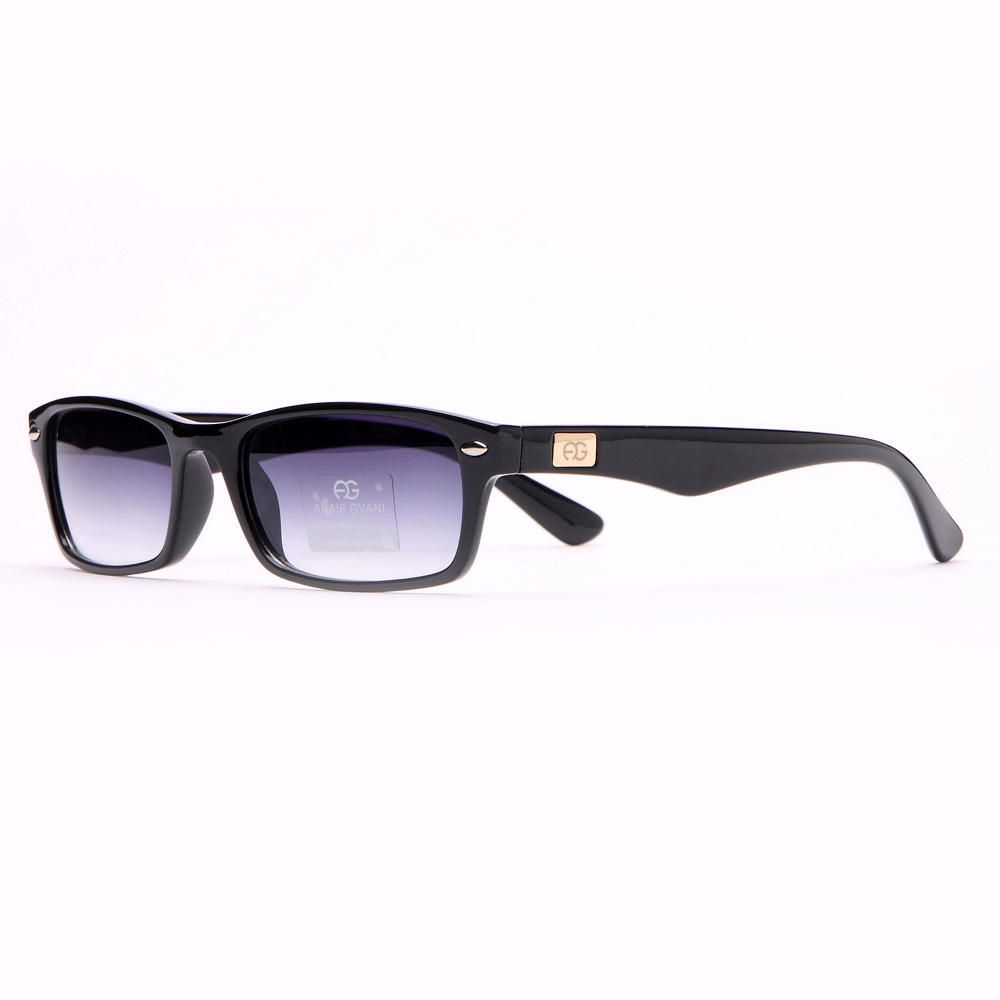 Rectangular Frame Sunglasses w/ Gold Logo Accent