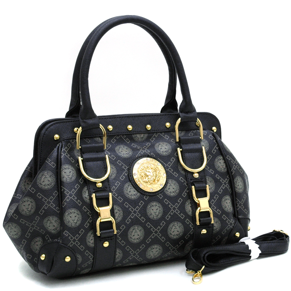 Gold Studded Satchel Bag w/ Gold Lion Emblem & Bonus Shoulder Strap