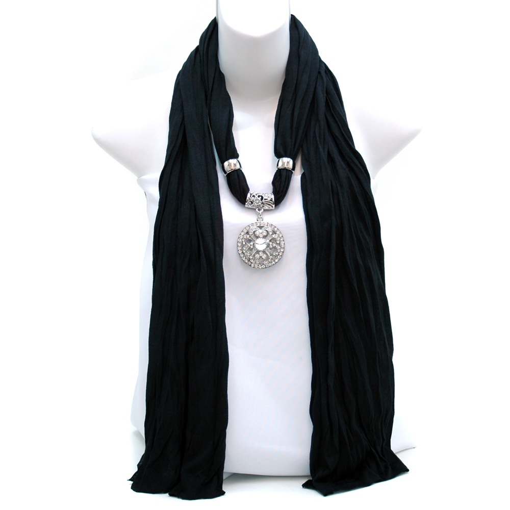 Necklace Style Fashion Scarf w/ Rhinestone Clover Ornament
