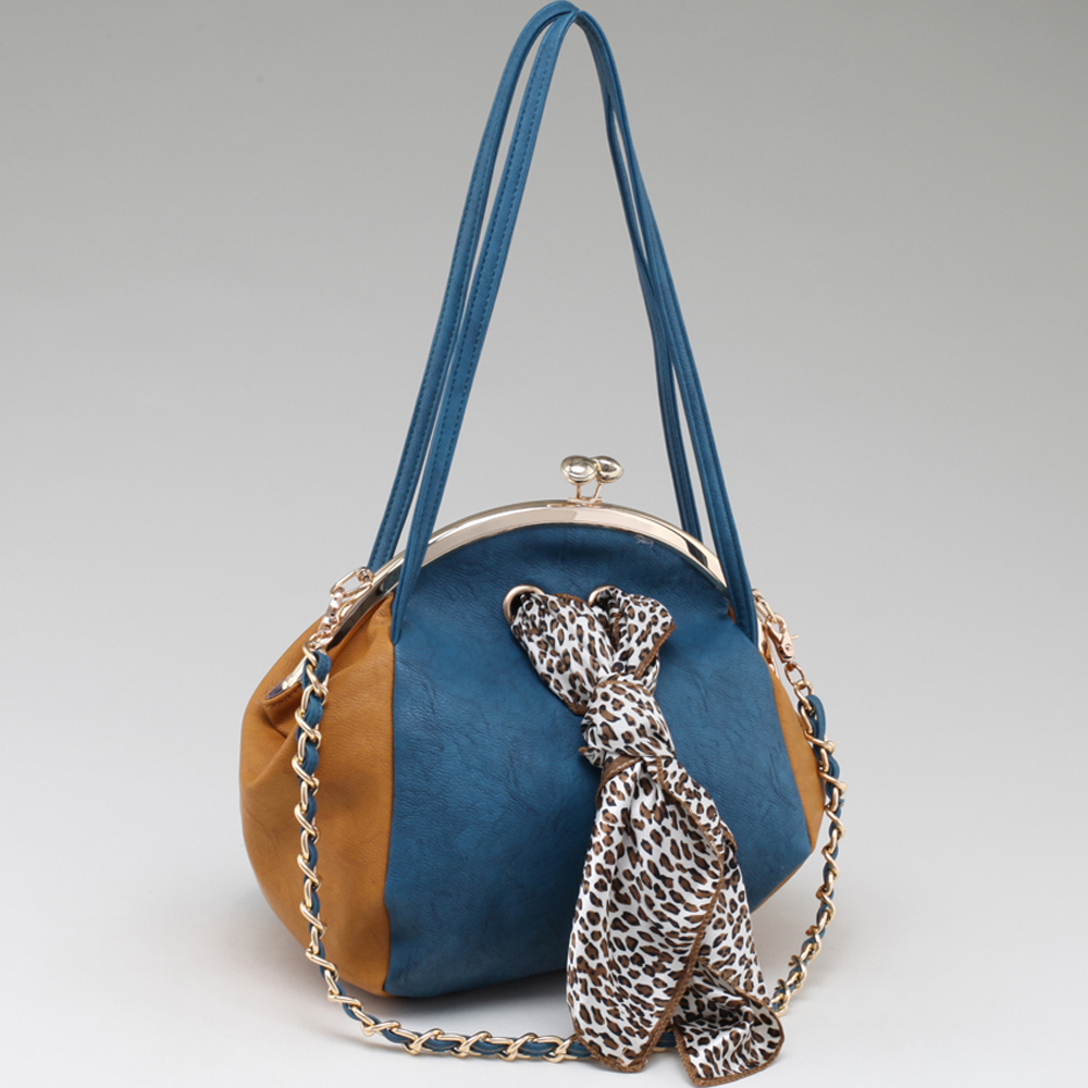 Two Toned Kiss Lock Bag w/ Leopard Scarf Accent
