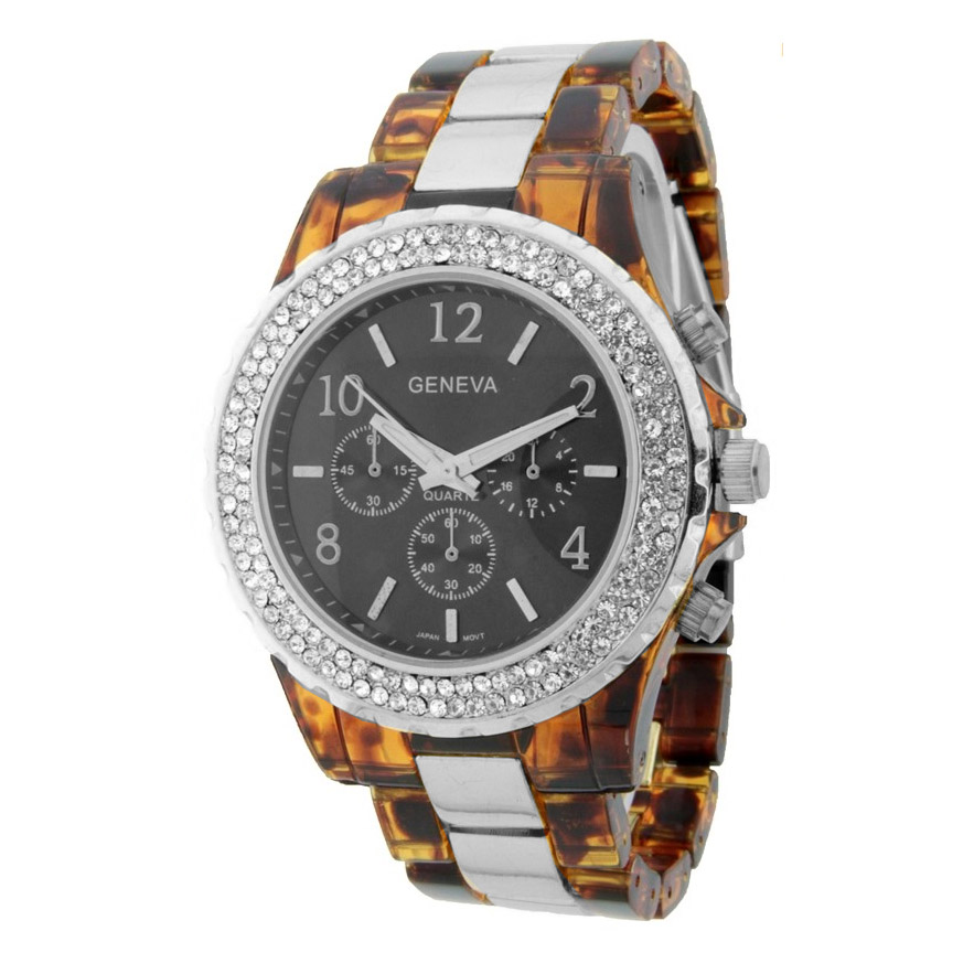 Classic Women's Watch with Rhinestone Accents