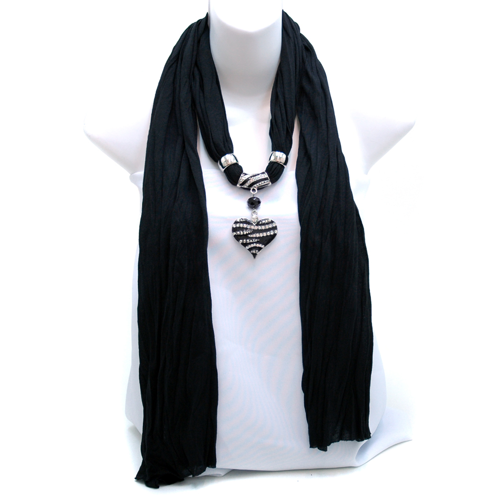 Necklace Style Fashion Scarf w/ Zebra Rhinestone Heart Charm