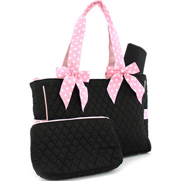 Quilted 3-Piece Diaper Tote With Polka Dot Handle