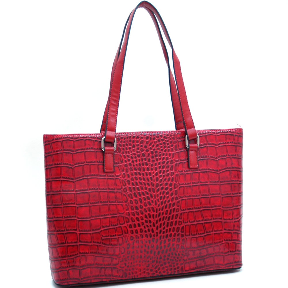 Dasein Large Matte Croco Chic Fashion Tote