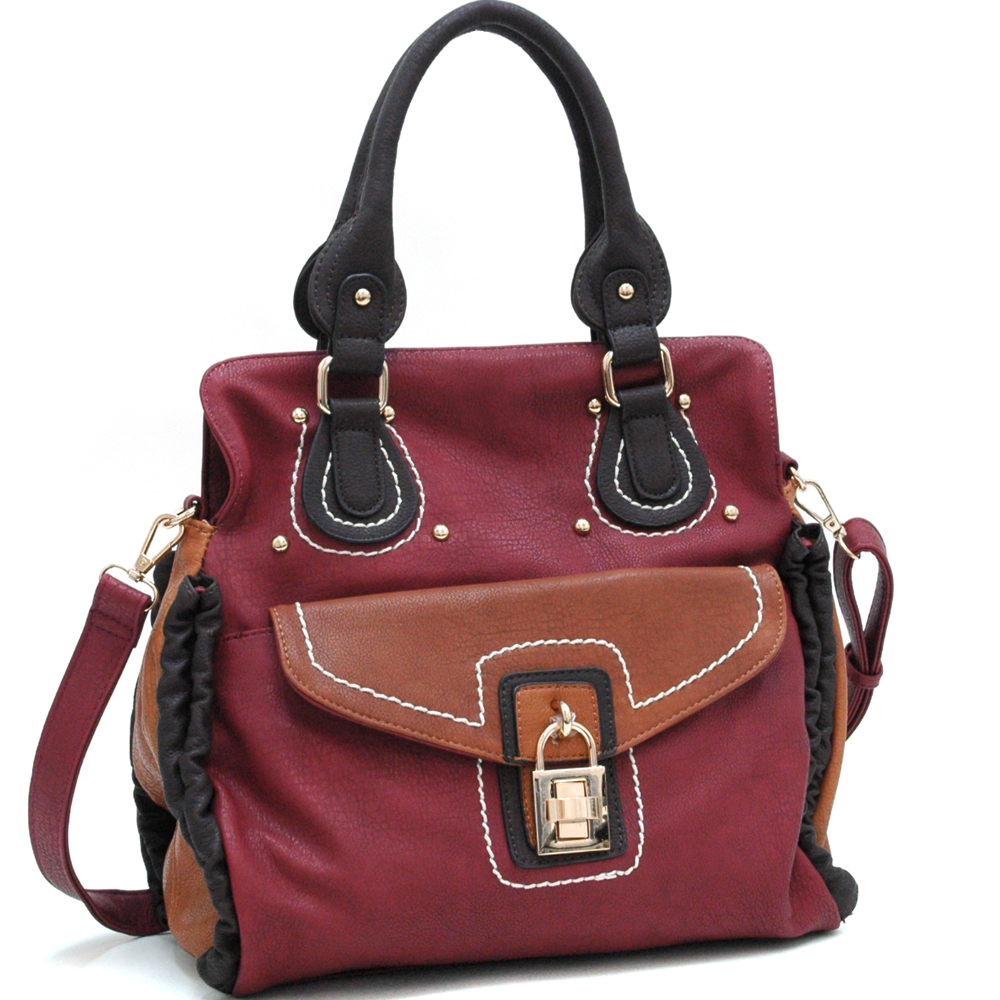 Classic Two Toned Chic Satchel with Bonus Shoulder Strap