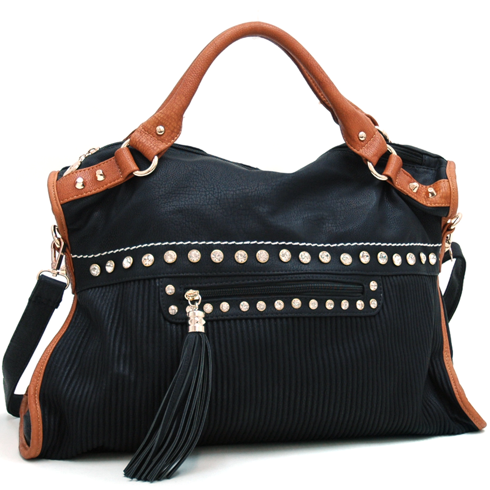 Large Two Tone Carrying Tote with Rhinestone Accents & Shoulder Strap