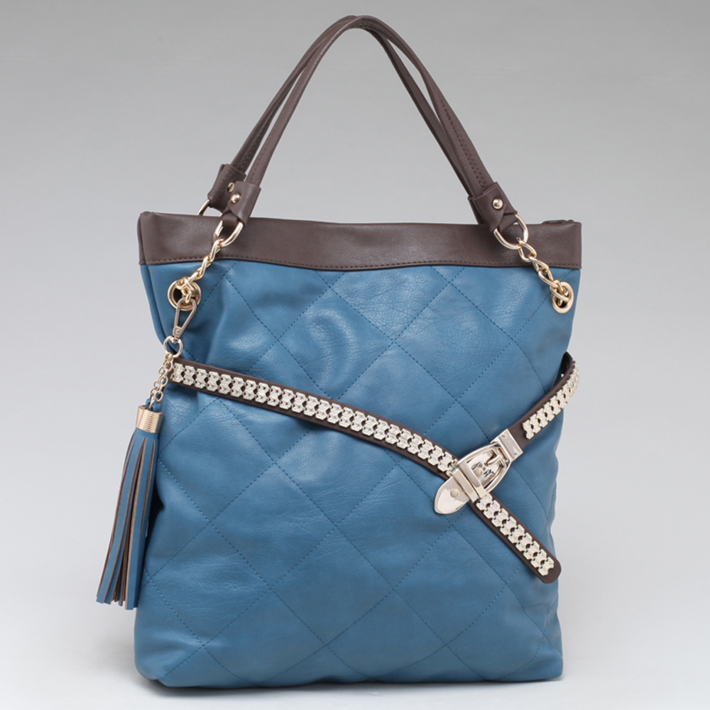 Fab Belted Carrying Tote with Quilted Front & Tassel Accent - Blue